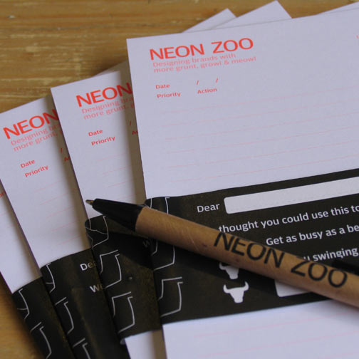 neon zoo designed to-do note pads and eco pens