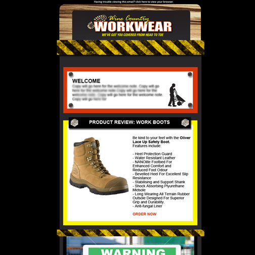 E-newsletter design for Wine Country Workwear, Cessnock
