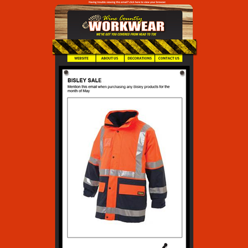 E-Postcard design for Wine Country Workwear, Cessnock