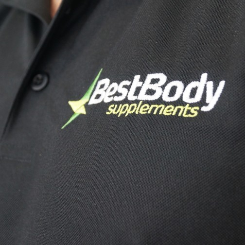 Best Body Supplements branding designed by Neon Zoo for uniforms