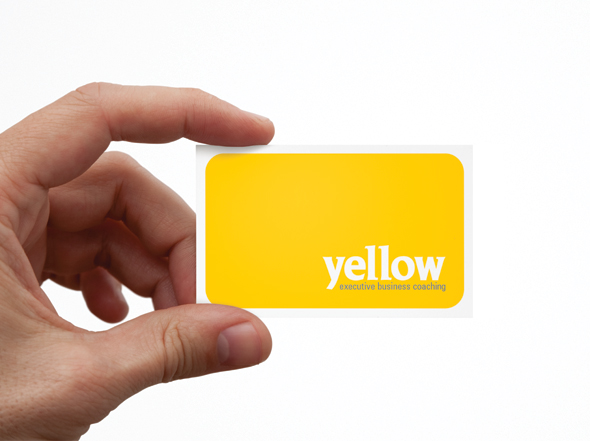 Business card design yellow executive coaching