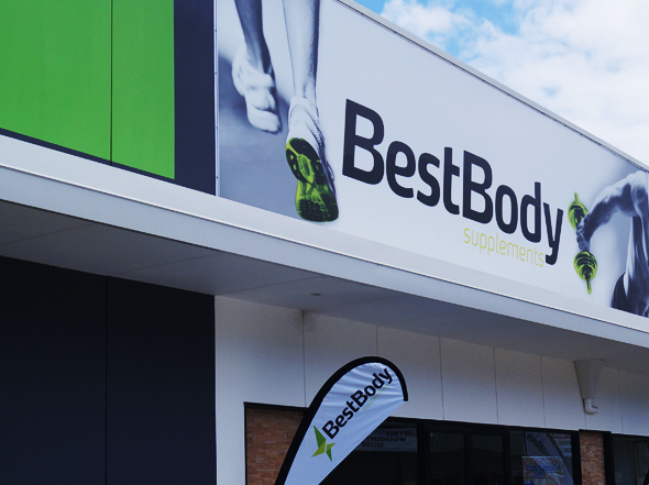 Exterior shop signage design for Best Body Supplements Warners Bay, designed by Neon Zoo