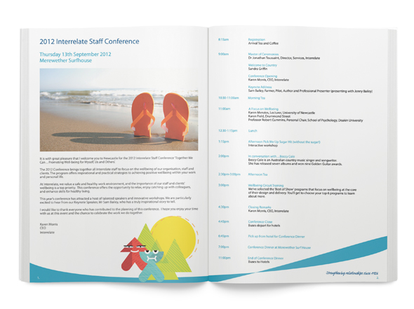 Interrelate Not-For-Profit Organisation Conference Schedule Booklet Design Neon Zoo Newcastle Graphic Design Studio