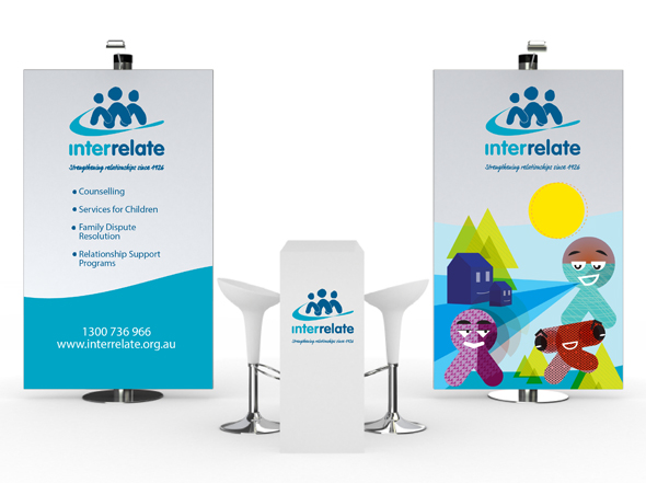 Interrelate Not-For-Profit Organisation Pull Up Banner Design Neon Zoo Newcastle Graphic Design Studio
