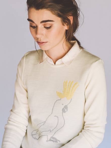 Jude cockatoo jumper, graphic developed by Neon Zoo