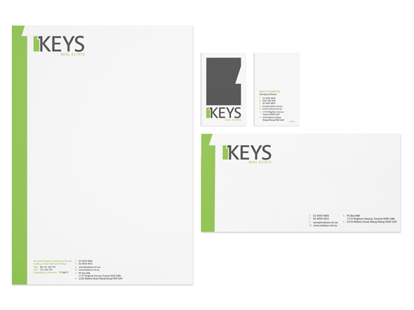 My Keys real estate stationery design by Neon Zoo graphic design Newcastle