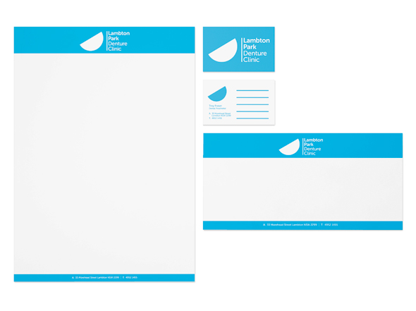 Lampton Park Denture Clinic Stationery Design, Neon Zoo Design Studio, Newcastle, NSW