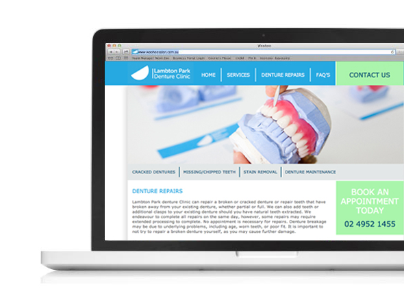 Lampton Park Denture Clinic Website, Neon Zoo Design Studio, Newcastle, NSW