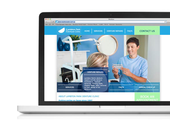 Lampton Park Denture Clinic Website, Neon Zoo Graphic Graphic Design Studio, Newcastle, NSW