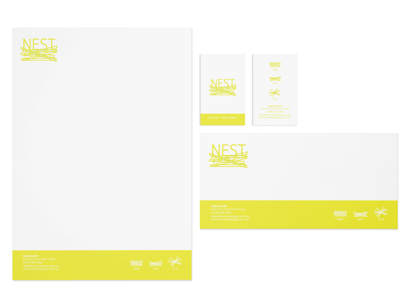 NEST Interior and Building Design Stationery Design, Neon Zoo Graphic Design Studio, Newcastle