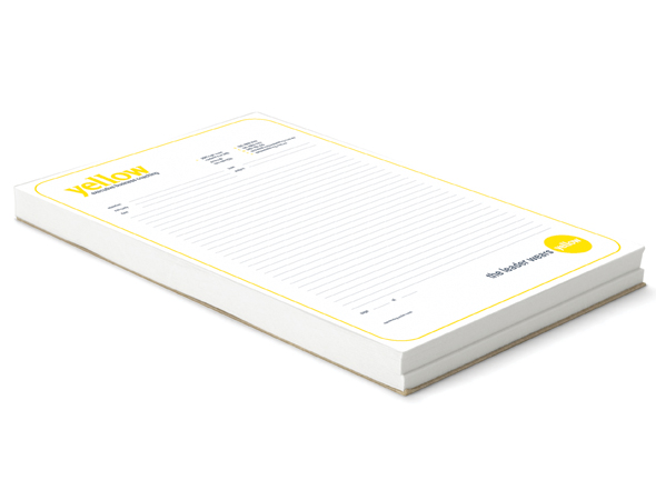 Notepad design for yellow coaching