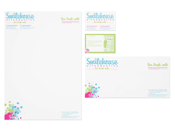 Stationery suite design for Smilehouse Orthodontics Charlestown, NSW
