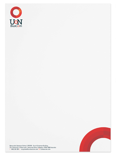 Letterhead Stationery design for University of Newcastle Bus Com