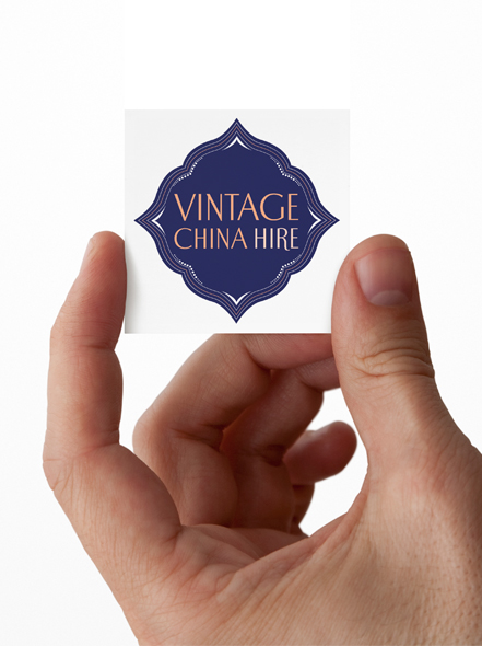 business card design for Vintage China Hire Newcastle, Hunter Valley & Central Coast