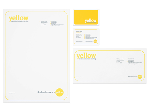 Stationery design for Yellow executive business coaching