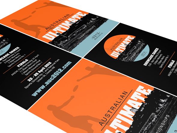Promotional flyer design for Australian Ultimate 'frisbee' Championships event held in Newcastle, Designed by neon zoo