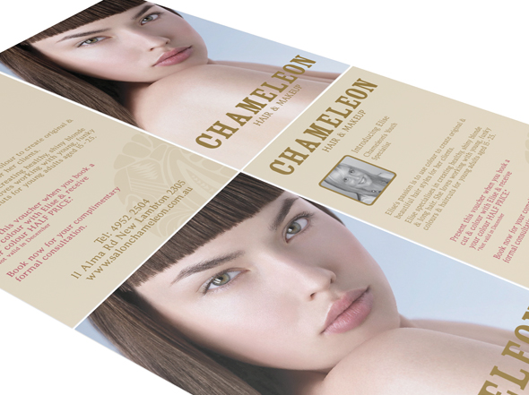 Chameleon Hair and Makeup Postcard Design by Neon Zoo, graphic design studio, Newcastle NSW