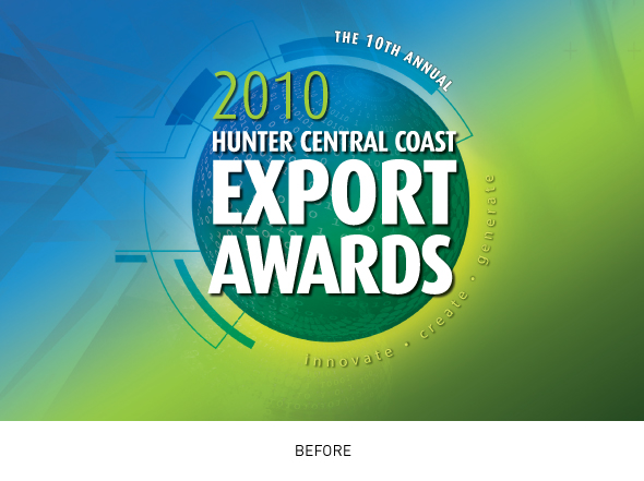 Hunter Central Coast Export Awards brand mark before design rejuvenation was undertaken by Neon Zoo, Newcastle graphic design studio