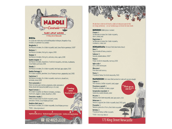 Napoli Centrale menu design Neon Zoo graphic design studio Newcastle