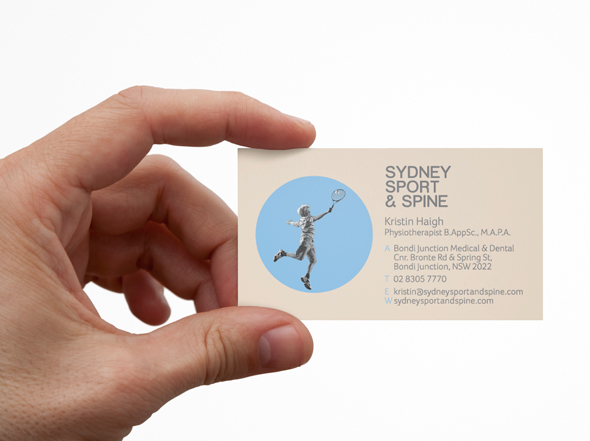 Sydney Sport & Spine business card designed by Neon Zoo