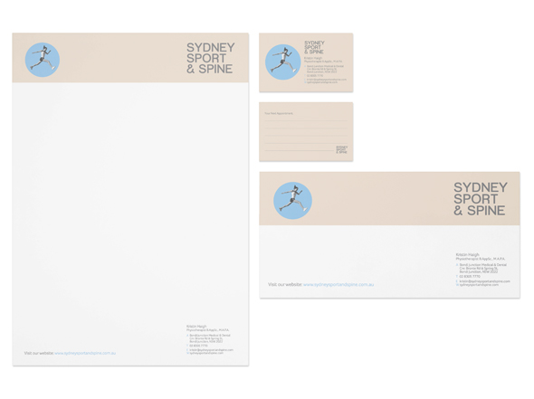 Stationery suite design for Sydney Sport & Spine by Neon Zoo