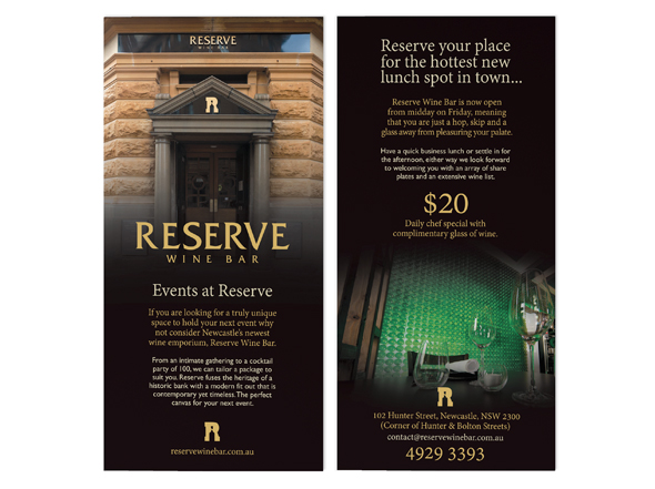 Reserve Wine Bar DL flyer design Neon Zoo graphic design studio Newcastle