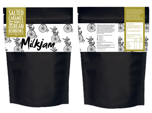 Boobon packaging designed for Milkjam products