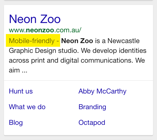 Neon Zoo website design mobile friendly for google searching