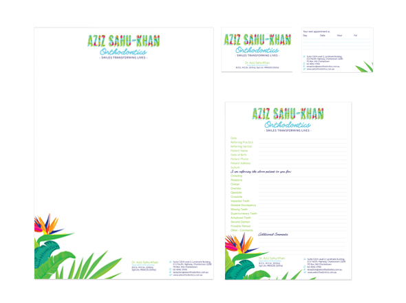 Stationery design for aziz sahu-khan orthodontics